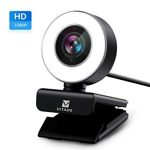 Webcam 1080P Full HD mit Mikrofon und Ringlicht,...