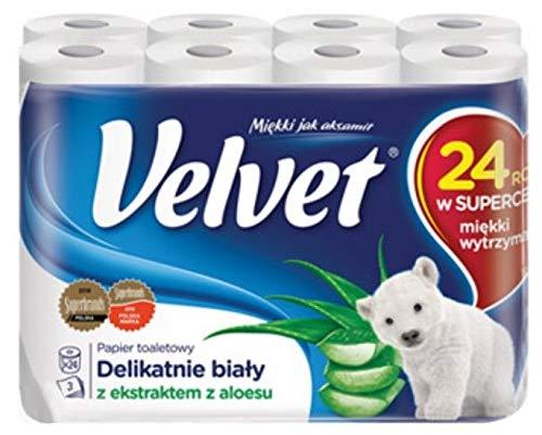 24 Rollen Velvet Aloe Duft Toilettenpapier 3-lagig...