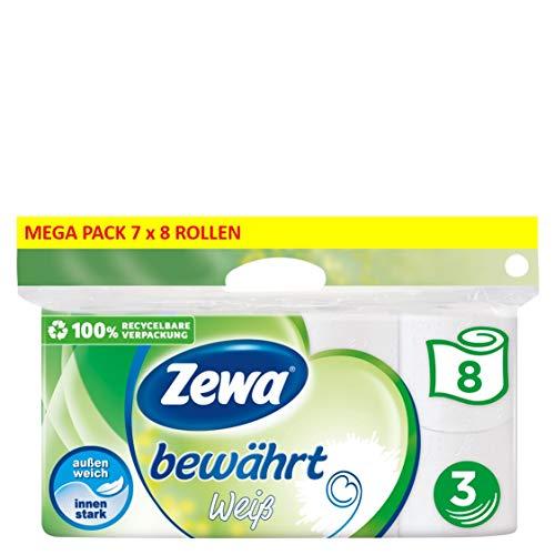 Zewa Toilettenpapier Bewährt, Riesenpackung 7 X 8...