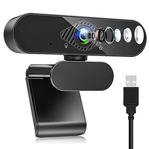 Webcam mit Mikrofon, HD 1080P Web Kamera mit 120°...
