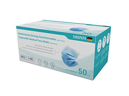 EUROPAPA 50x medizinische OP Maske 3-lagig Atemschutzmasken Typ IIR...