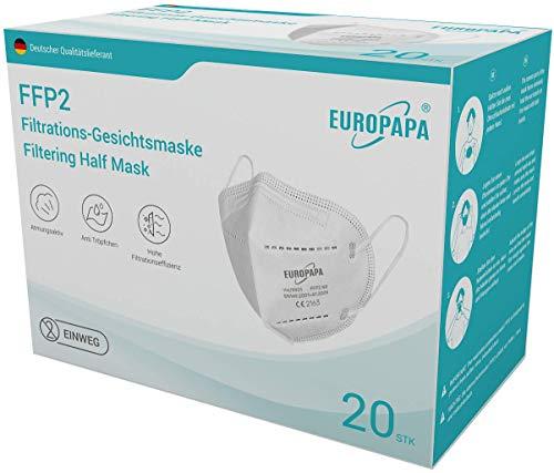 EUROPAPA 20x FFP2 Atemschutzmaske 5-Lagen Staubschutzmasken hygienisch...