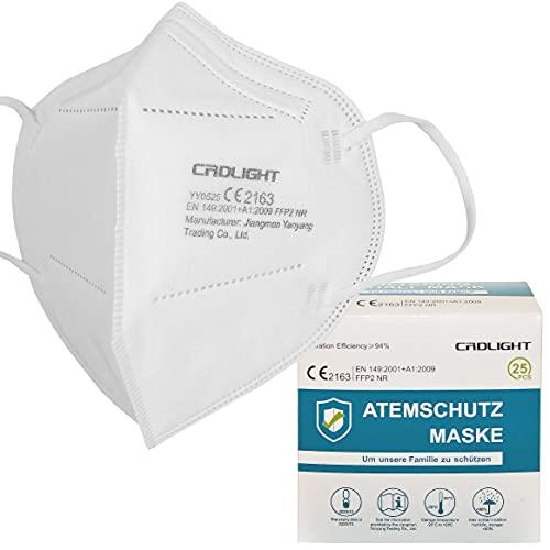 CRDLIGHT 25 Stück FFP2 Atemschutzmasken je Maske in PE-Folie...